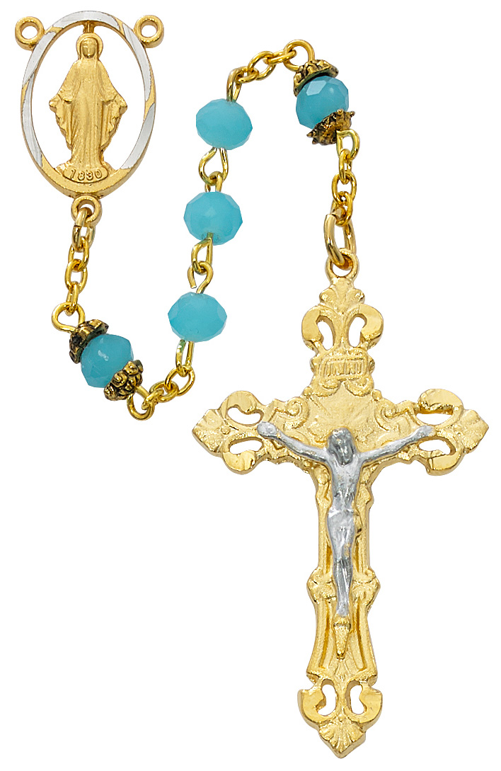 March Birthstone Rosary - Style RM710HF